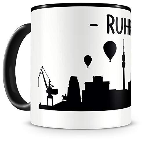 Samunshi® Ruhrpott Skyline Ruhrgebiet Tasse Kaffeetasse Teetasse H:95mm/D:82mm schwarz