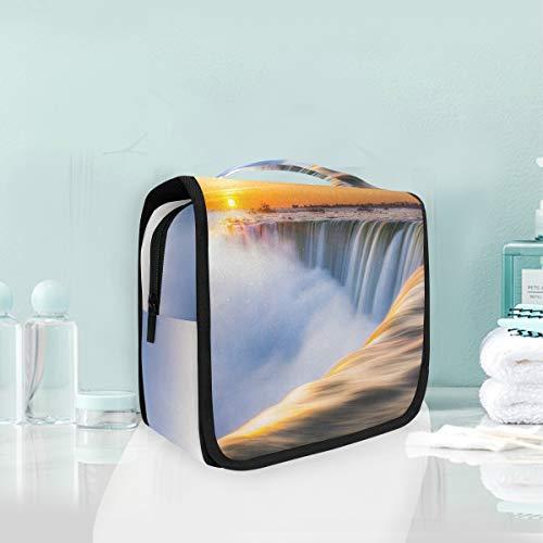 Cosmetic Bag Voyage Hanging Trousse De Toilette Art Paysage Sunrise Waterfall Sac De Stockage De Voyage Portable Maquillage Poche Sac Organisateur Cas pour les Femmes
