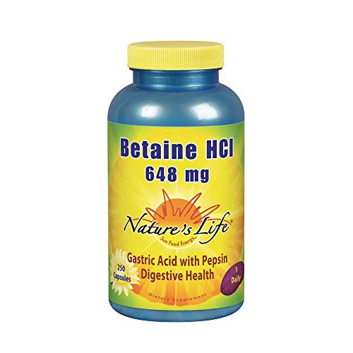 Nature's Life Betaine HCL Supplement 648 mg | Digestion Support Formula | Non-GMO | 250 Gelatin Caps