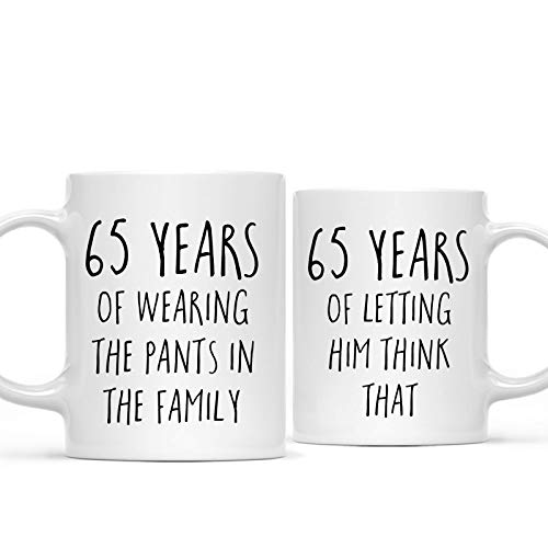 Andaz Press Funny 65th Wedding Anniversary 11oz. Couples Coffee Mug Gag Gift, 65 Years of Wearing the Pants in the Family, Letting Him Think That, 2-Pack with Gift Box for Husband Wife Parents