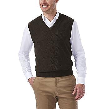 Haggar Men s Heather Diamond Texture Stitch V-Neck Sweater Vest Dark Brown Medium