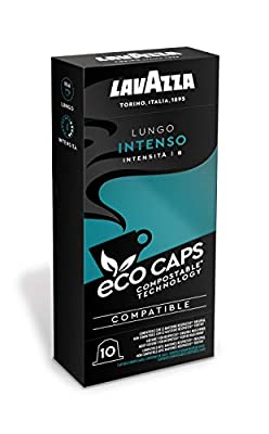 Lavazza 100 Eco Caps Coffee Pods compatible with Nespresso Original* machines, Lungo Intenso, Compostable - 10 Pack of 10 (530 g), 1.09 kg