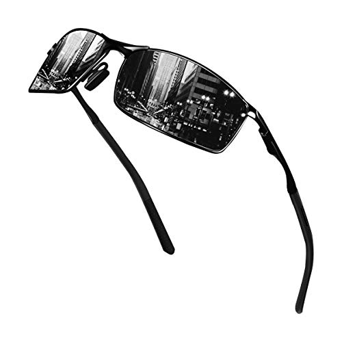 Sunmeet Gafas de Sol Hombre Polarizadas Deportes 100% Protección UV Gafas de sol para Hombre Conducción S1008(Negro/Negro)