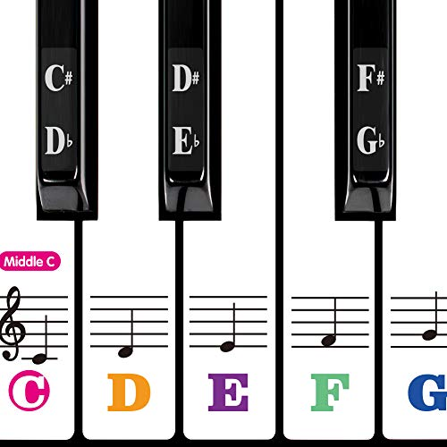 Piano Keyboard Stickers for 88/61/54/49/37 Key. Large Bold Colorful Letter Piano Stickers for Kid Learning Piano. Transparent,Removable,Multi-Color