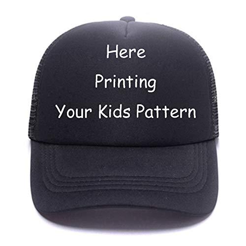 Personalised Toddler Kids Baseball Cap Custom Picture,Text Snapback Mesh Trucker Hats for Girls, Boys,Childs Full Black