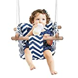 Secure Baby Hanging Swing Seat Chair for Toddler, Baby Swings for Infants, Baby Swing Outdoor Indoor Swing for Toddlers, Canvas Toddler Swing With Soft Backrest Cushion and PE Rope, Baby Hammock Chair