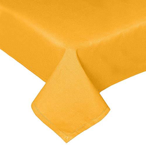 Homescapes gelbe Tischdecke, 137 x 178 cm aus 100% Baumwolle, eckiges Tischtuch für Küche und Esszimmer, waschbar und pflegeleicht, senfgelb