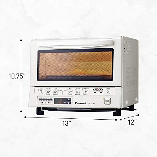 Product Image 4: Panasonic FlashXpress Compact Toaster Oven with Double Infrared Heating, Crumb Tray and 1300 Watts of Cooking Power – 4 Slice Countertop Toaster Oven – NB-G110P-W (White)