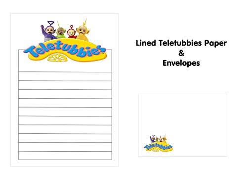 25 x A5 Petits Établissements les Télétubbies papier et C6 enveloppes assorties – Papier pour enfants – Idéal pour les Notes de remerciement, invitations, menus – doublé
