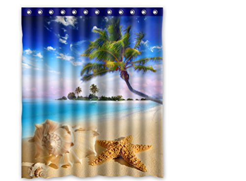 FMSHPON summer beach tropical sea life palm tree conch starfish sea star Polyester Shower Curtain 60 x 72 Inches