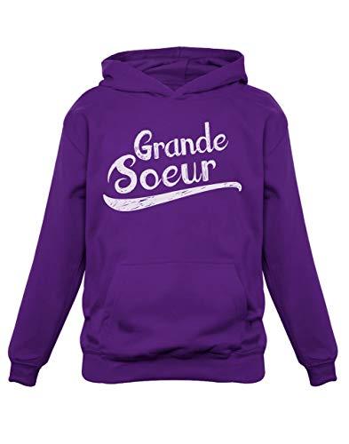 Green Turtle T-Shirts Grande Soeur Cadeau de NaissanceSweatshirt Capuche Enfant 11/12A Violet