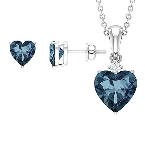 Rosec Jewels 18 quilates oro blanco corazón redonda Blue Alejandrita creada en laboratorio Diamond