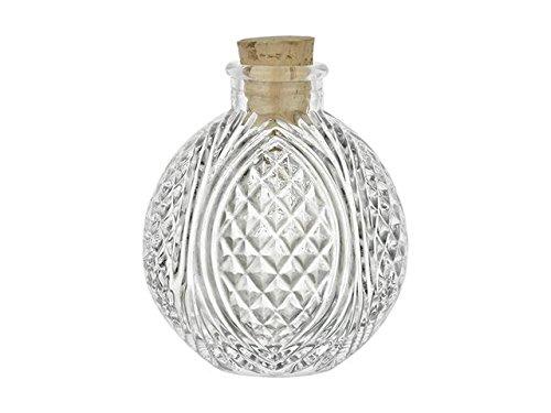 Nakpunar Spherical Glass Bottles with Cork Closure (60, 4 oz Crystal Cut)