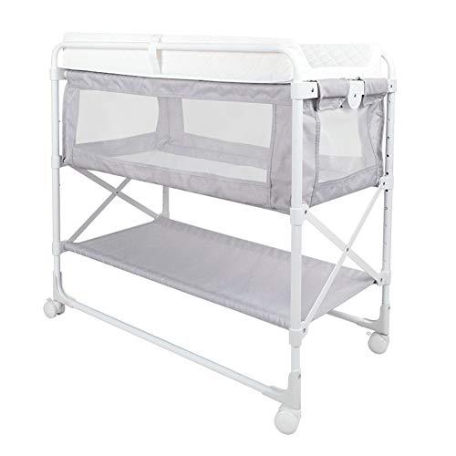 XJJUN-Cunas Adosadas Plegable Mesa De Pañales Cama De Empalme Fácil De Cargar Altura Ajustable Lavable No Se Requiere Ensamblaje Metal, 3 Colores (Color : Gray, Size : 85x50x110cm)