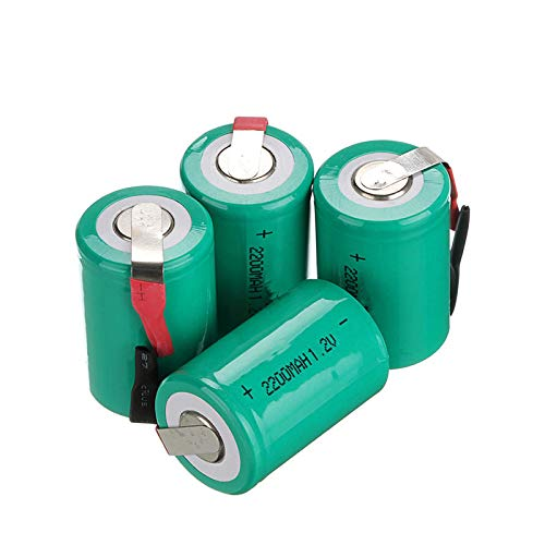 THENAGD 2200mah 1.2v Ni-Cd Rechargeable Battery Flat Cover with Tabs, for Shading and Cellular Emergency Lighting Radios 4pcs