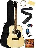 Barcelona D500 Acoustic Guitar - Natural Bundle with Gig Bag, Strings, Tuner, Strap, Picks, Fender Play Online Lessons, Instructional DVD, and Austin Bazaar Polishing Cloth