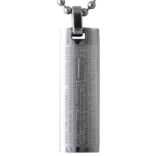 Dahlia Spanish Lord's Prayer and Cross Stainless Steel Pendant Necklace 20