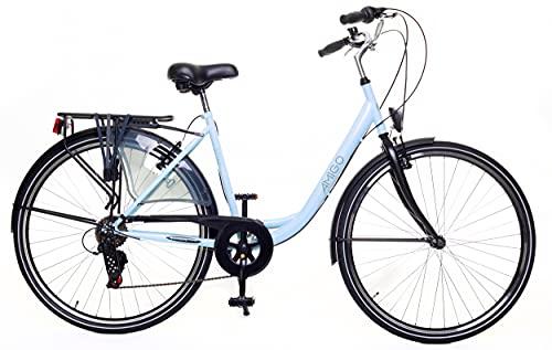 Amigo Style - Cityräder für Damen - Damenfahrrad 28 Zoll - Geeignet ab 170-175 cm - Shimano 6 Gang-Schaltung - Citybike mit Handbremse, Beleuchtung und fahrradständer - Blau