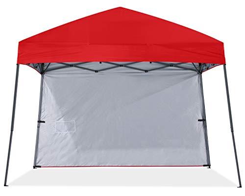 ABCCANOPY Toldo desplegable para exteriores, 10 x 10 cm, con 1 pared solar, bolsa de mochila, estacas y cuerdas, color rojo