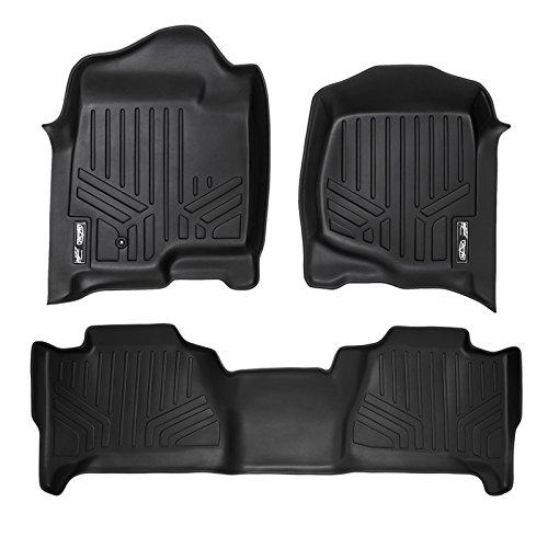 MAXLINER Floor Mats 2 Row Liner Set Black for 2007-2014 Cadillac Escalade (No Hybrid Models)