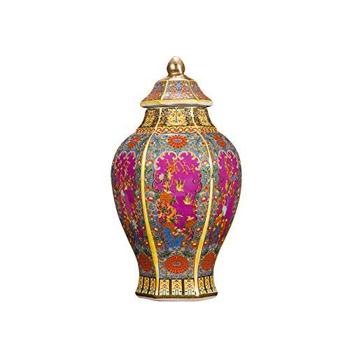 JYJYJY Adornos Escultura Tarro Hexagonal Esmaltado Porcelana Decoración Esmalte Antiguo Porcelana De Color Pastel