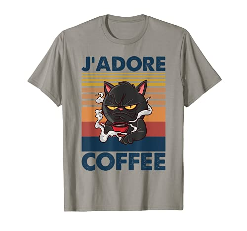 Cafe | Bad Cat with Cup - I Love Coffee - J'adore Coffee T-Shirt