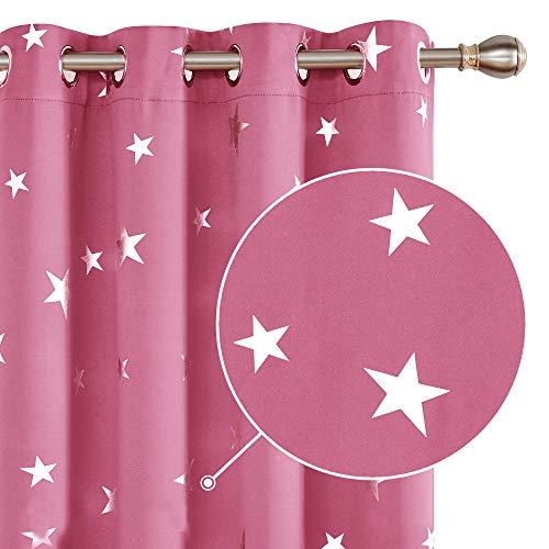 Deconovo Tende Oscuranti Termiche Isolanti Tende a Pannello Stampate delle Stelle Finestre Soggiorno per Camera da Letto Due Pannelli 140x260cm Rosa
