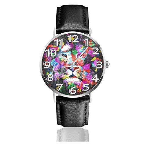 Lion Color Art Black Lederuhr Unisex Fashion Armbanduhren Scratch Resist Watch Durable Wear Uhren