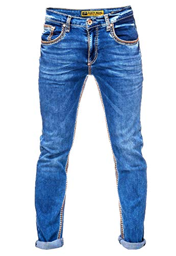Rusty Neal Herren Jeans Hose Regular Fit Blue Used Blau Stretch Dicke Naht Freizeit J100, Hosengröße:34/34