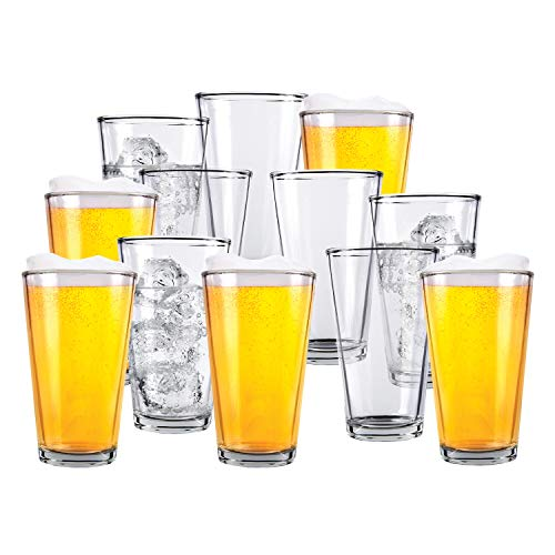 Glass Beer Cups – Pack of 12 – Clear Glass Bar Tumblers, 1 Pint (16oz) –  Premium Quality Glass Cups, Great for Restaurants, Bars, Parties, Home and Kitchen – by Kitchen Lux (Pack of 12)