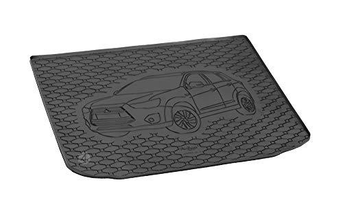Passgenau Kofferraumwanne geeignet für Mitsubishi ASX ab 2010 ideal angepasst schwarz Kofferraummatte + Gurtschoner