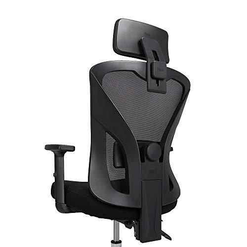 Hbada Bürostuhl Ergonomischer Drehstuhl Mesh Stuhl Chefsessel Schreibtischstuhl mit hoher Rückenlehne mit verstellbar Armlehnen Lordosenstütze Schwarz