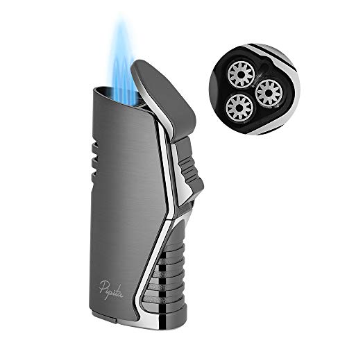 PIPITA Mechero Resistente al Viento 3 Azul Llamas Gas Butano Recargable Encendedor de cigarros Jet Flame Turbo Encendedors con ponche(Vendido sin Gas)