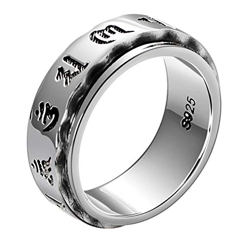 Anillos de Los Hombres, 925 Sterling Silver Vintage Six Words Mantra Spinner Anillo, Hombre Signtet Spin Anillos Punk Jewelry,10