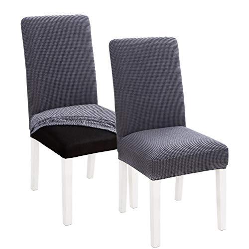 INMOZATA Stuhlhussen 2er Set Stretch Esszimmerstuhl Sitzbezug grau abnehmbar waschbar Stuhl Schonbezug für Klopflehne Esszimmerstühle (grau)