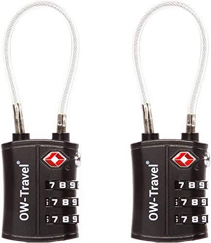 OW-Travel Candado Combinacion Cable Acero Flexible Anti robo. Candado maleta TSA numerico 3 Digitos. Candados mochila y maletas. Candado Taquilla Gimnasio. TSA candado seguridad equipaje Negro 2