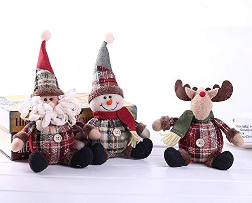 Conjunto de 3 Lindas muñecas de Regalo de decoración navideña Santa, muñeco de Nieve, Renos