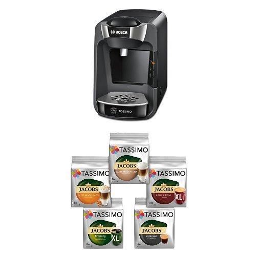 Bosch TAS3202 Tassimo T32 Suny Multi-Getränke-Automat Suny, midnight schwarz / anthrazit + Tassimo Vielfaltspaket - 5 verschiedene Packungen kaffeehaltiger Getränke, 1er Pack (1 x 927 g)
