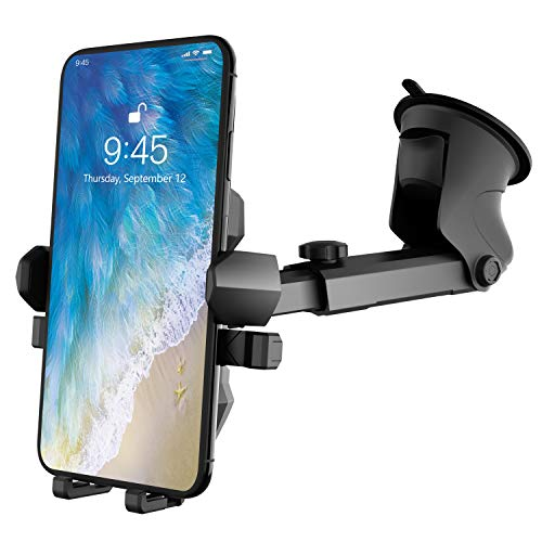 Phone Holder for Car, MANORDS Universal Long Neck Suction Car Phone Mount Compatible with iPhone 11 Pro Xs XS Max XR X 8 8 Plus 7 Samsung Galaxy S10 S9 S8 LG Nexus Sony and More (Dark Gray)