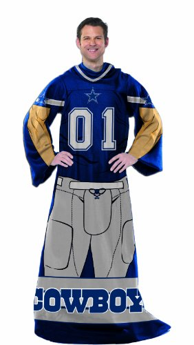 NFL Dallas Cowboys Adult Comfy Throw Blanket with Sleeves, 48