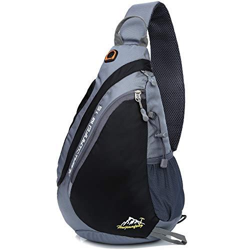 Freemaster Zaino Sportivo, Zaino monospalla per campeggio, palestra, attività fisica, ciclismo e per la scuola, Black, 18.7H x 11.8W x 5.1T inch (47 x 30 x 13cm)