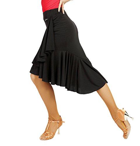 SCGGINTTANZ G2022 Latin Latein Moderner Der Ball Tanz Gesellschaftstanz Professionell unregelmäßiger Schwing Röcke des Lotosblattart (XL, (SBS) Black)