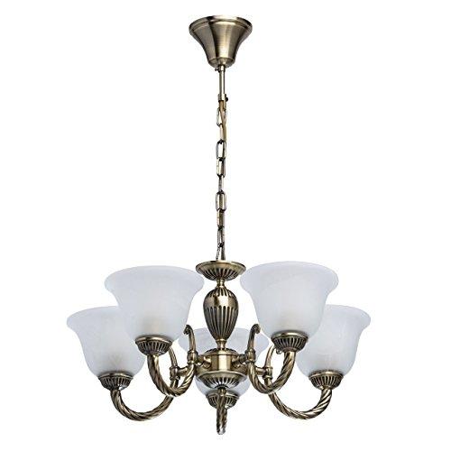 MW-Light 450016305 Kronleuchter Antik 5 Armig Messingfarbig Weiße Glasschirme