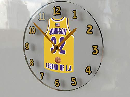 MyShirt123 Magic Johnson - Orologio da parete 32 ???Los Angeles Lakers NBA Basket Jersey Orologio da parete