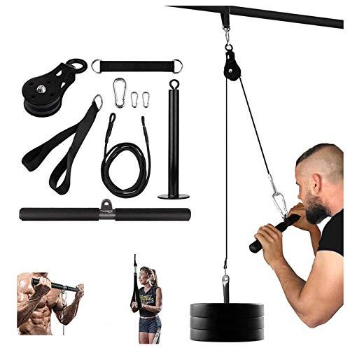 SFSGH Fitness LAT y Sistema de polea elevadora con Pasador de Carga, Barra de tríceps, Barra, Cable, Cuerda, máquina para Fuerza Muscular, Entrenamiento en casa, Equipo de Gimnasio para