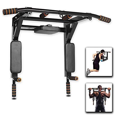 Gielmiy Klimmzugstange wandmontage,Multifunktionale Pull-Up-Bar Trainingsstange Dip-Station für Oberkörper, Workout, Zuhause, Fitnessstudio, maximale Belastung 440 kg