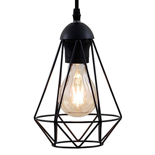 Lampadario vintage, adatto per lampadina E27 non inclusa max 40W, metallo nero, altezza totale 1,1m, lampada a sospensione per salotto o sala da pranzo, lampada da soffitto stile industriale, IP20