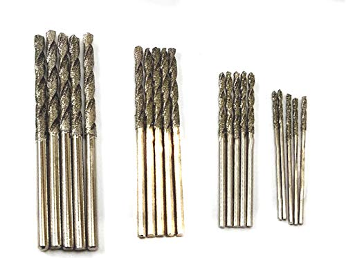 DRILAX Diamond Drill Bit Set 20 Pieces 4 Sizes 1mm 1.5mm 2mm 2.5mm Twist Tip Jewelry Beach Sea Glass Shells Gemstones Lapidary
