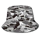 Cappello da Pescatore Unisex,Camo Grigio scuro Motivo mimetico urbano Colore nero astratto bianco,Cappello da Sole Pieghevole Cappello da Pesca Viaggio Spiaggia Esterno Cappellino Fisherman cap Hat