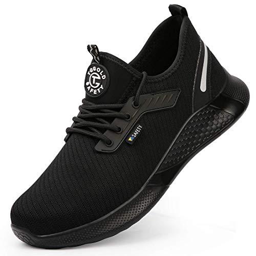 tqgold Sicherheitsschuhe Herren Damen Arbeitsschuhe mit Stahlkappe Sportlich S3 Leicht Atmungsaktiv rutschfest Schuhe(Größe 38,Schwarz)
